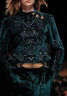 Balmain green velvet quilted dress with gold belt