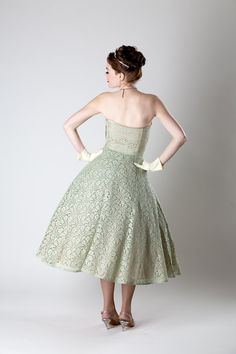 Vintage 1950s Lace Wedding Dress Sage Green by unionmadebride, $225.00