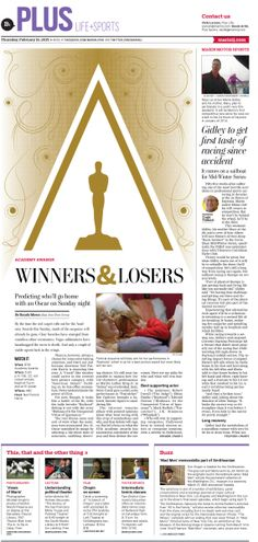 Oscars Winners & Losers #Newspaper #GraphicDesign #Layout #Movies #Oscars…