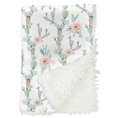 girly cactus baby blanket with blush pink flowers