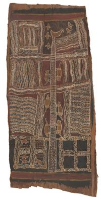 """Narritjin Maymuru (1914-1982), """"Guwak ga Marrnu (Night-bird and Possum)"""", 1948.  Australian Scientific Expedition to Arnhem Land, Collected at Yirrkala, 100x46 cm.  This is an example of Aboriginal bark painting that depicts the people's deep tie to nature and the use of natural elements in their art making.  More information found on the link connected to this image http://www.nma.gov.au/exhibitions/old_masters/bark_paintings/eastern_arnhem_land."""