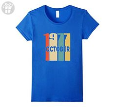 Womens Retro Vintage 1977 Born in October 40th Birthday Tshirt XL Royal Blue - Birthday shirts (*Amazon Partner-Link)