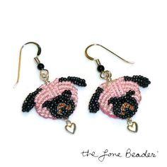 Sale: Pink PUG LOVE beaded sterling silver heart earrings