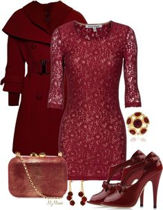 A fashion look from December 2012 featuring burgundy cocktail dresses, red jacket and cut-out booties. Browse and shop related looks. Trendy Outfits, Cute Outfits, Diva Fashion, Fashion Sets, Dressed To The Nines, Church Outfits, Outfit Combinations, Feminine Style, Playing Dress Up