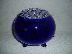 Viking-Glass-LARGE-Flowerlight-Flower-Frog-Vase-COBALT-BLUE-FREE-U-S-SHIPPING