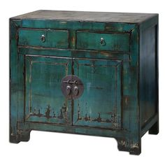 Antique Style PEACOCK BLUE Green Console Cabinet Asian Oriental Distressed  Table. Living Room CabinetsHomemakers FurnitureConsole ...