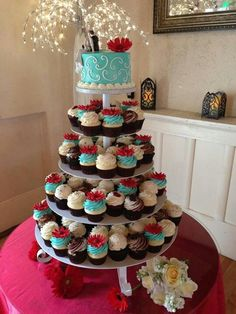 Tiffany blue and red wedding cupcake tower