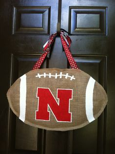 Burlap Nebraska Cornhusker Door Hanger...Go Big Red!