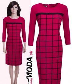 Elegantné červené kárované trendy šaty puzdrového strihu. - trendymoda.sk