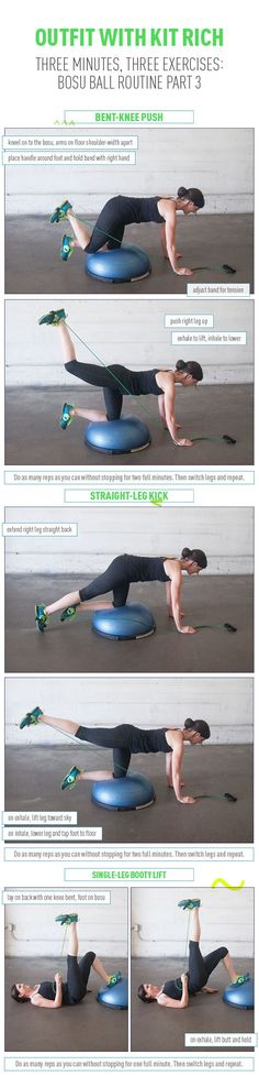 I've got a bosu, but no bands. These moves on or off the bosu would be good for the tush if performed slowly and deliberately. Three Moves to Firm and Lift Your Booty! Bosu Routine Part 3 Wellness Fitness, Fitness Tips, Fitness Motivation, Health Fitness, Cycling Motivation, Pilates, At Home Workouts, Butt Workouts, Glute Exercises
