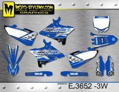 Blue, black and white full graphics kit for Yamaha YZ 250 UFO RESTYLED including WHITE number plate backgrounds Yamaha Yz 125, Ufo, Custom Design, Graphics, Black And White, Decals, Motorbikes, Bespoke Design, Black White