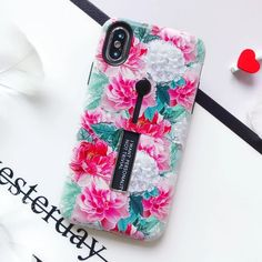 EKONEDA Finger Ring Case For iPhone 8 Plus Case Floral Leaf Hidden Stand Cover For iPhone XR Case For iPhone X XS Max 6S 7 Plus Outfit Accessories From Touchy Style. | Free International Shipping. Iphone 7 Phone Cases, Cute Phone Cases, Iphone 11, Phone Cover, Colourful Wallpaper Iphone, Iphone Wallpaper, Iphone 8 Plus, Cartoon Rose, Graphic Quotes