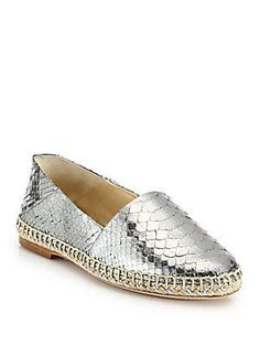 Alexandre Birman Metallic Python Espadrille Flats - Silver - Size 9.5