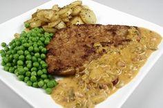 Jægerschnitzel af skinkeschnitzel