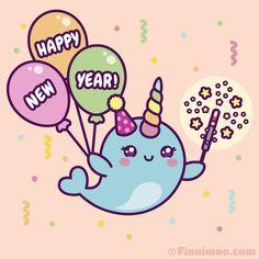 Emoji Drawings, Cute Kawaii Drawings, Kawaii Cute, Kawaii Narwhal, Cute Narwhal, Narwhal Pictures, New Year Cartoon, New Year Gif, Serpentina