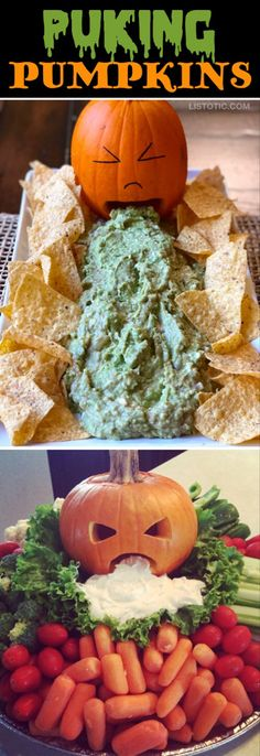My 10 FAVORITE Halloween Party Appetizers! PUKING PUMPKINS-- easy, creepy and fun! These scary Halloween party appetizers are great for both kids and adults! They're all perfect for a crowd, including finger foods and easy dips. Most of them are quick mad Halloween Party Snacks, Holloween Party Ideas, Comida De Halloween Ideas, Halloween Fingerfood, Dessert Halloween, Snacks Für Party, Appetizers For Party, Halloween Kids, Ideas Party