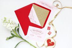Red Pink Gold Glitter Wedding Invitations Megan Wright Design Co2 Red, Blush Pink, + Gold Wedding Invitations
