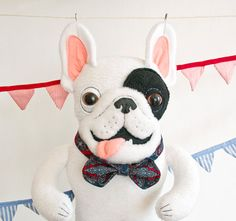 This item is ready to ship!    Plush french bulldog very carefully embroidered and finished by hand, his forepaws are movable. Frenchie has white and