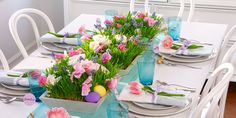 This year, prepare an Easter brunch that's as stylish as it is tasty. From Easter egg name cards to jelly bean vases, here are colorful Easter table decorations. Easter Crafts For Adults, Easter Crafts For Kids, Easter Ideas, Pink Lake, Tips And Tricks, Easter Table Decorations, Easter Decor, Easter Centerpiece, Spring Decorations