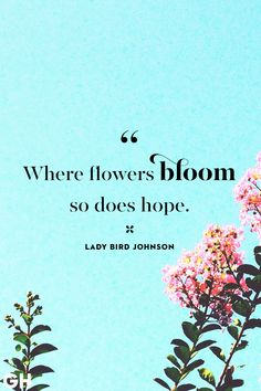 Get in the Springtime Spirit With These Uplifting Quotes Spring Quotes Lady Bird Johnson Flowers Hop Uplifting Quotes, Positive Quotes, Inspirational Quotes, Motivating Quotes, Hope Quotes, Quotes To Live By, Quotes Quotes, Smile Quotes, Flower Quotes Love