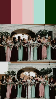 Mismatched Bridesmaids Dress Color Palettes to Use Throughout Your Wedding We love how this bridesmaid palette mixes pastel and dark cool tones together Red Bridesmaids, Mismatched Bridesmaid Dresses, Bridesmaid Dress Colors, Wedding Bridesmaid Dresses, Wedding Mint Green, Maroon Wedding, Long Sleeve Wedding, Wedding Dress Sleeves, Color Schemes