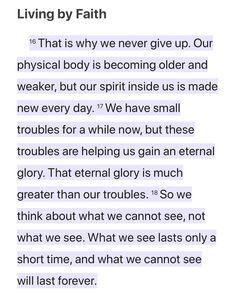 Living By Faith   2 Corinthians 4:16-18 ERV http://bible.com/406/2co.4.16-18.erv