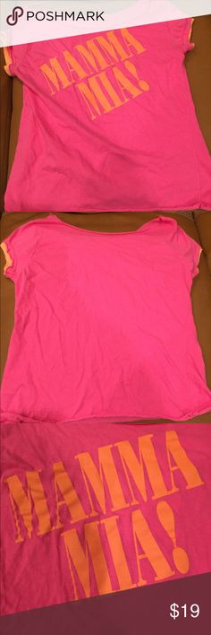 Mama Mia Pink & Lt Orange T-Shirt Broadway Bound Ladies T-Shirt from the hit show 'Mama Mia. The size is a S/M. The color is primarily pink with orange. It is very light weight and comfy. Tops Tees - Short Sleeve