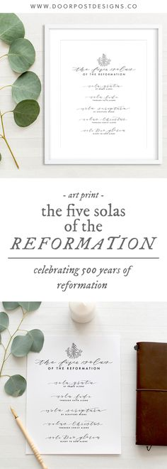 "The 5 Solas of the Reformation: art print celebrating 500 years of reformation! Perfect reminder on your wall to remind you, ""here we stand."" // sola gratia - by grace alone; sola fide - through faith alone; sola scripture - Scripture alone; solus Christus - Christ alone; soli Deg gloria - to the glory of God alone // Christianity, art print, printable, wall decor, gallery wall, Christian, reformed"