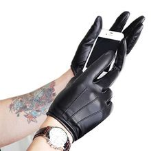 Fashion Leather Gloves For Men Screen Touch Lambskin Leather Winter Warm Driving Car Gentleman Gloves Free Shipping(China (Mainland))