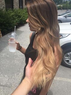 Subtle warm brown ombre hair. Kept the natural light brown on the root and went lighter on the ends