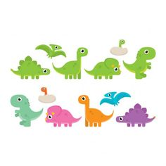 To decorate a kids room classroom or party spaces use this set of colorful cute cartoon dinosaur vectors. There are so many uses for these little dinosaur vectors. Dinosaur Drawing, Cartoon Dinosaur, Cute Dinosaur, Die Dinos Baby, Baby Dinosaurs, Dinosaur Birthday Party, Boy Birthday, Party Decoration, Cute Cartoon