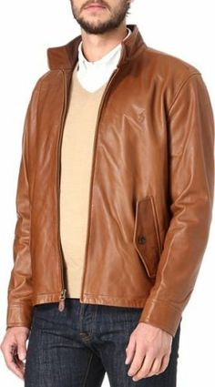 NWOT~Polo by Ralph Lauren~Barracuda Leather Jacket~Saddle Brown~L~$800