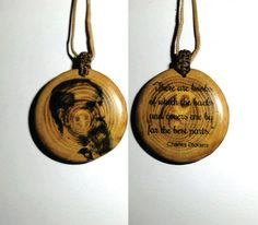 Charles Dickens pendant necklace - old wood disc by plexeurope on DeviantArt Pendant Jewelry, Pendant Necklace, Wooden Slices, Old Wood, Tree Branches, Pendants, Christmas Ornaments, Holiday Decor, Magic Wands