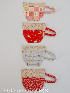 Sewing Bags Project The Enchanting Rose: Tea Cup Coasters - Sewing Project Fabric Crafts, Sewing Crafts, Diy Crafts, Mug Rug Patterns, Sewing Patterns, Fabric Coasters, Quilted Coasters, Cup Coaster, Small Sewing Projects