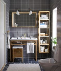 Ikea bathroom | I like it quite a bit.  #gray #white #birch #bathroom
