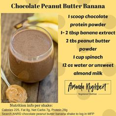 Looking for a quick meal on the go? Sometimes you just don't have time to sit down and eat so give this yummy chocolate peanut butter banana shake a try! You will not regret it! Low Carb Protein Shakes, Protien Shake Recipes, Carbs Protein, Lean Protein, Smoothie Recipes, Smoothies, Lean Snacks, Lean Meals, Clean Eating Snacks