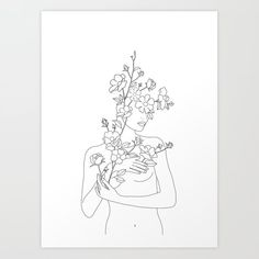 Minimal Line Art Woman with Wild Roses Art Print by Art Sketches, Art Drawings, Art Rose, Rose Line Art, Kunst Tattoos, Canvas Prints, Art Prints, Canvas Art, Line Drawing