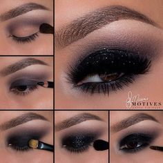 Smokey eye color makeup trends - hairstyles Smokey Augenfarbe Make-up Trends – Frisuren Frauen Smokey eye color makeup trends - Black Eye Makeup, Glitter Eye Makeup, Natural Eye Makeup, Dark Makeup, Glitter Hair, Smokey Eye With Glitter, Makeup For Black Dress, Glitter Clothes, Glitter Outfit