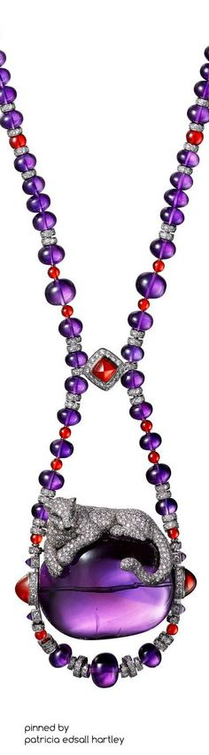Cartier Étourdissant amethyst opal, emerald and diamond necklace. Cartier Panthere, Ideas Joyería, Cartier Jewelry, Cartier Necklace, Amethyst Jewelry, Brighton Jewelry, Schmuck Design, Animal Jewelry, Luxury Jewelry