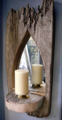 Arched Reclaimed Driftwood Mirror Sconce with shelf great Gift idea