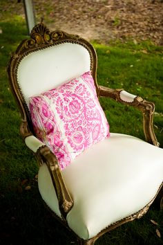 Vintage white leather chair -- rent me for your event @Out of Hand! &
