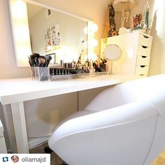 Check out @oliamajd's new beauty station! We love how bright & organized it is. See more of her #IKEA home makeover photos at LoveOlia.com by ikeausa