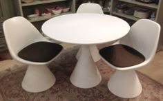 Vintage 1960s Arkana Maurice Burke Fiberglass Mushroom Dining Table  3 Chairs #MidCenturyModern