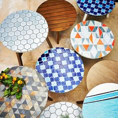 What if I tiled a little outdoor table with goregous Heath tiles, sort of like these West Elm beauties?
