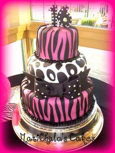 Sweet 16 Zebra & Cheetah Cake - my next birthday cake? lol
