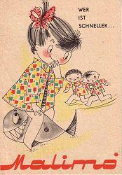 MALIMO Stoffe, DDR-Werbung, Zeichnung Inge Uhlich, East German Vintage Ad, GDR