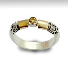 Engagement citrine ring, Sterling silver ring, gemstone ring, silver gold ring, twotone ring, filigree ring - Hopeless romantic. R0151