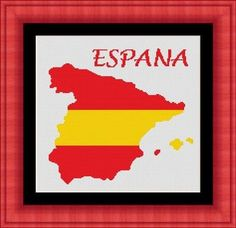 SPAIN / ESPANA / espagne map Counted cross by LudivinePointDeCroix