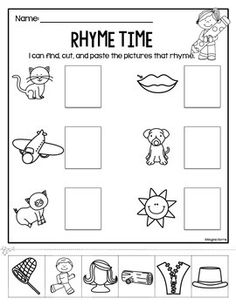 Free Printable Cut And Paste Rhyming Worksheets For Kindergarten ...