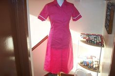 Alexandra Hot Pink with White Trim Nurse Uniform Dress Overall UK 6 / 8